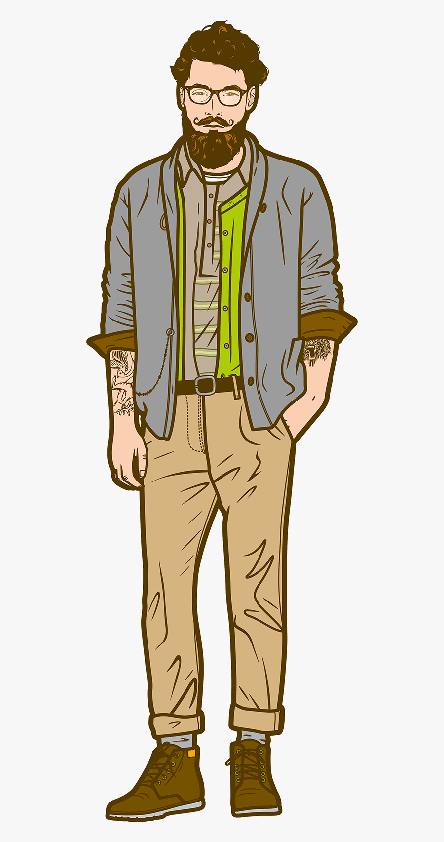 Character Illustration Hipster, Transparent Clipart