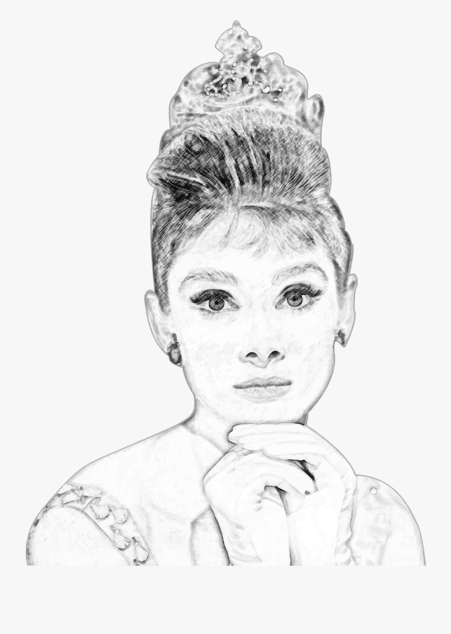 Audrey Hepburn Pencil Sketch Portrait Clip Arts - Self Portrait Pencil Sketch For Kids, Transparent Clipart