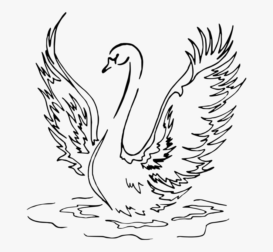 Fowl,beak,galliformes - Swan Drawing Png, Transparent Clipart