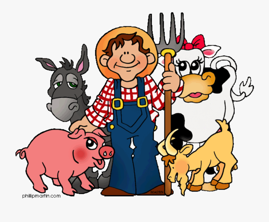 Farmer And Animals Clipart, Transparent Clipart