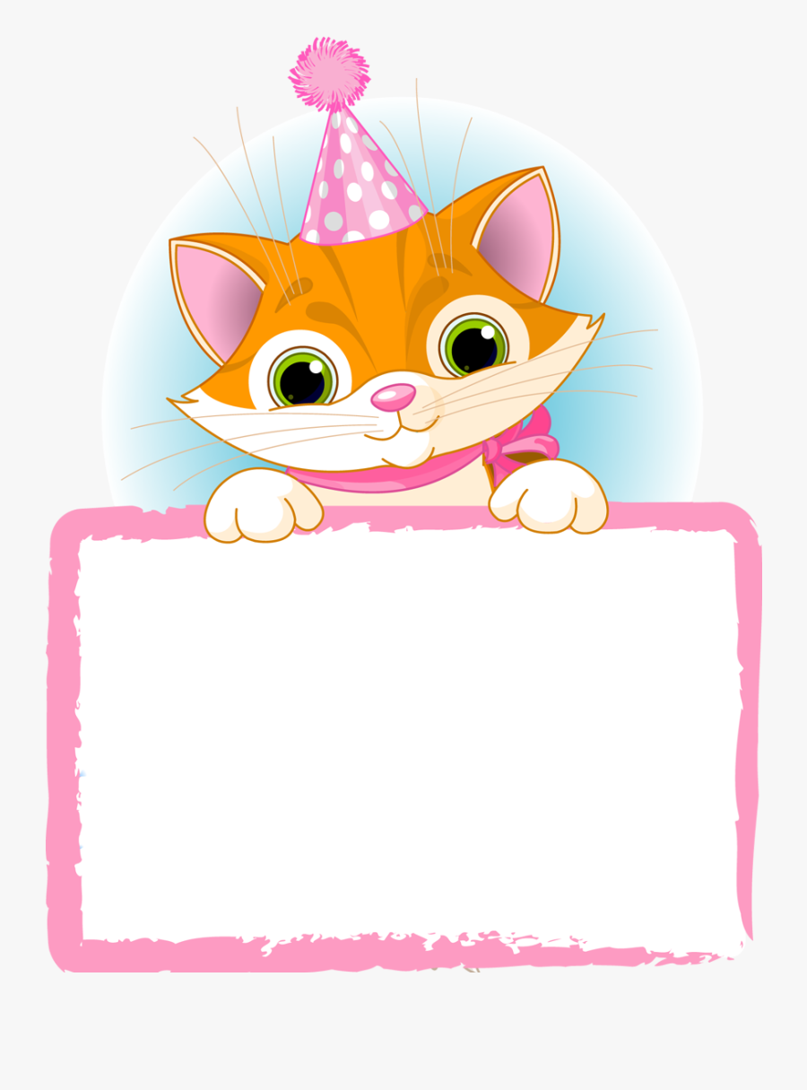 Paper Borders, Punch Art Cards, Classroom Labels, Preschool - Happy Birthday With Cat Border, Transparent Clipart