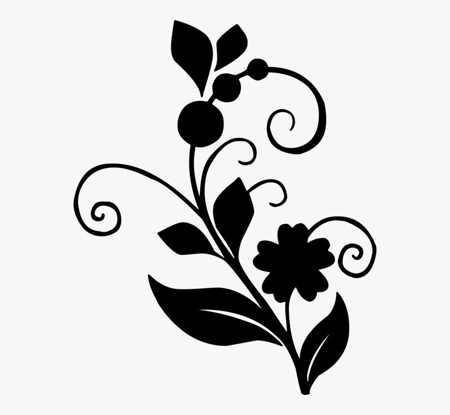 Monochrome - Flower And Leaf Design, Transparent Clipart