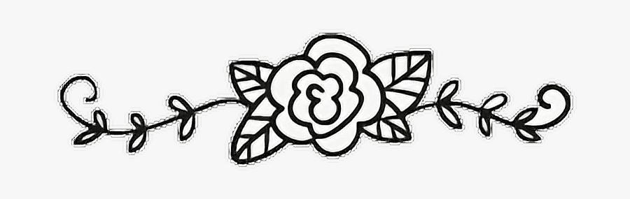 #flower #rose #vine #leaves #swirl #divider #frame - Line Art, Transparent Clipart