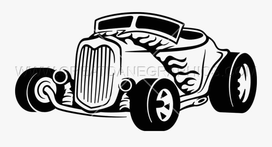 Clip Art Free Hot Rod Clipart - Black And White Hotrod Clipart, Transparent Clipart
