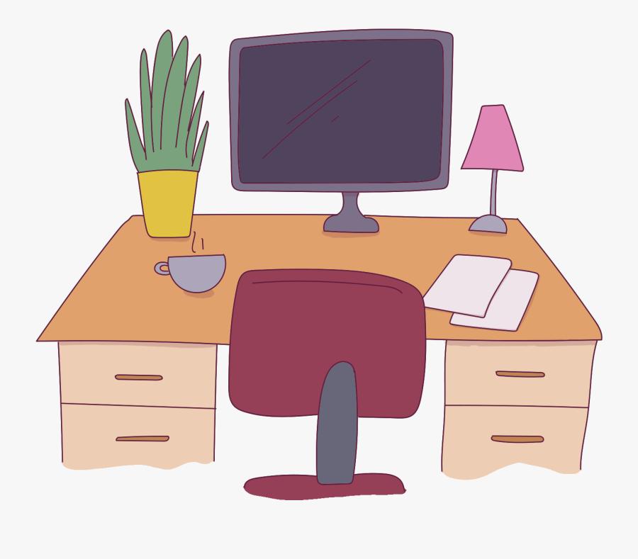 Workspace Office Desk - Computer Desk, Transparent Clipart