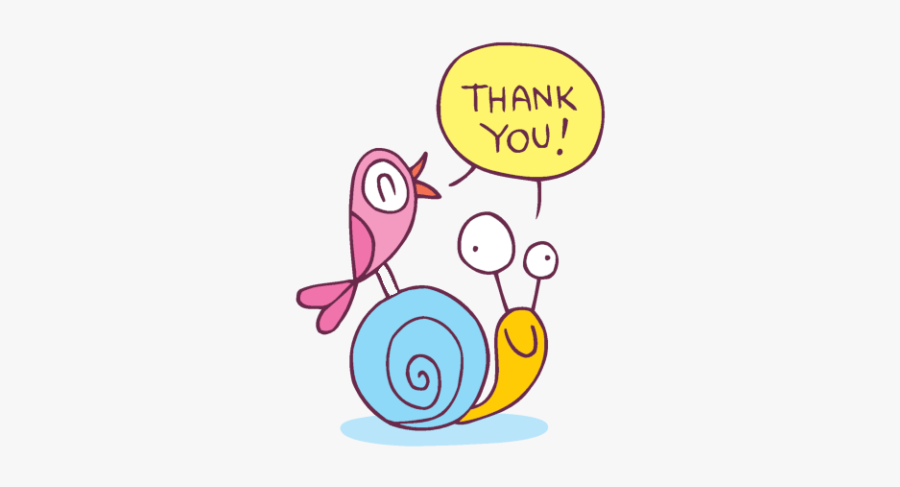 A Bird Saying Thank You While Sitting On A Snail - Thank You Characters, Transparent Clipart