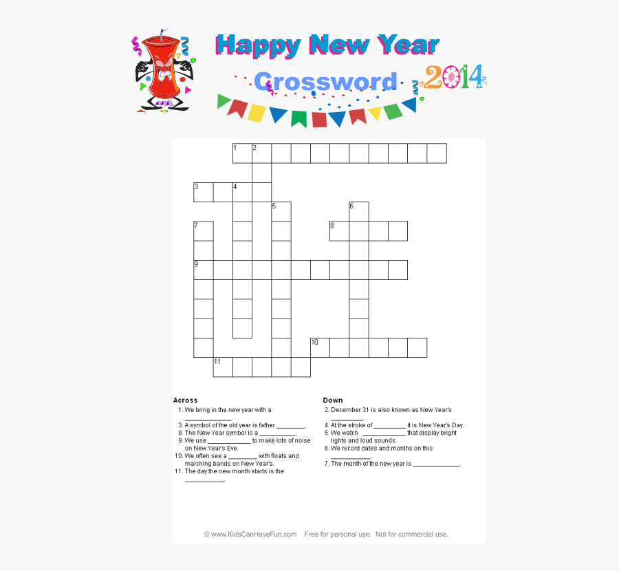 Drawing Crossword Printable - Easy New Year Word Search, Transparent Clipart