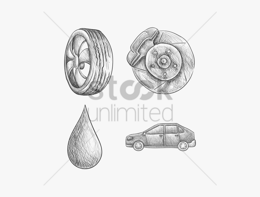 Set Of Car Parts Vector Image - Part Of A Car Drawing, Transparent Clipart