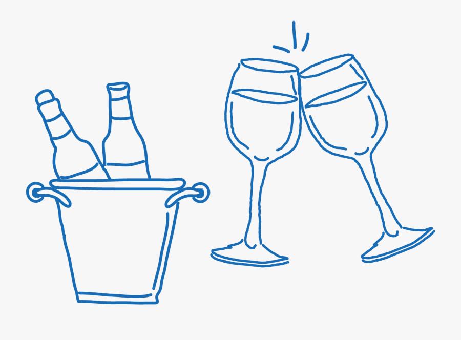 Transparent Wine Glass Drawing Png - Transparent Wine Glass Doodle, Transparent Clipart