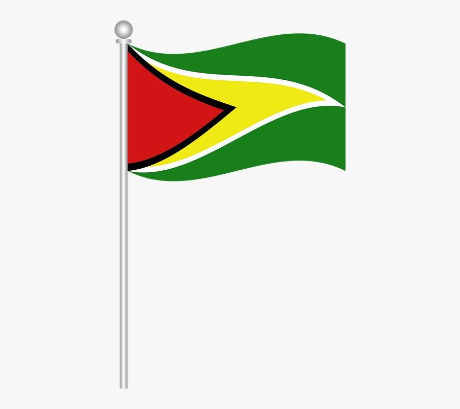 Flag Of Guyana, Flag, Guyana, World, Nation - Guyana Flag On Pole, Transparent Clipart