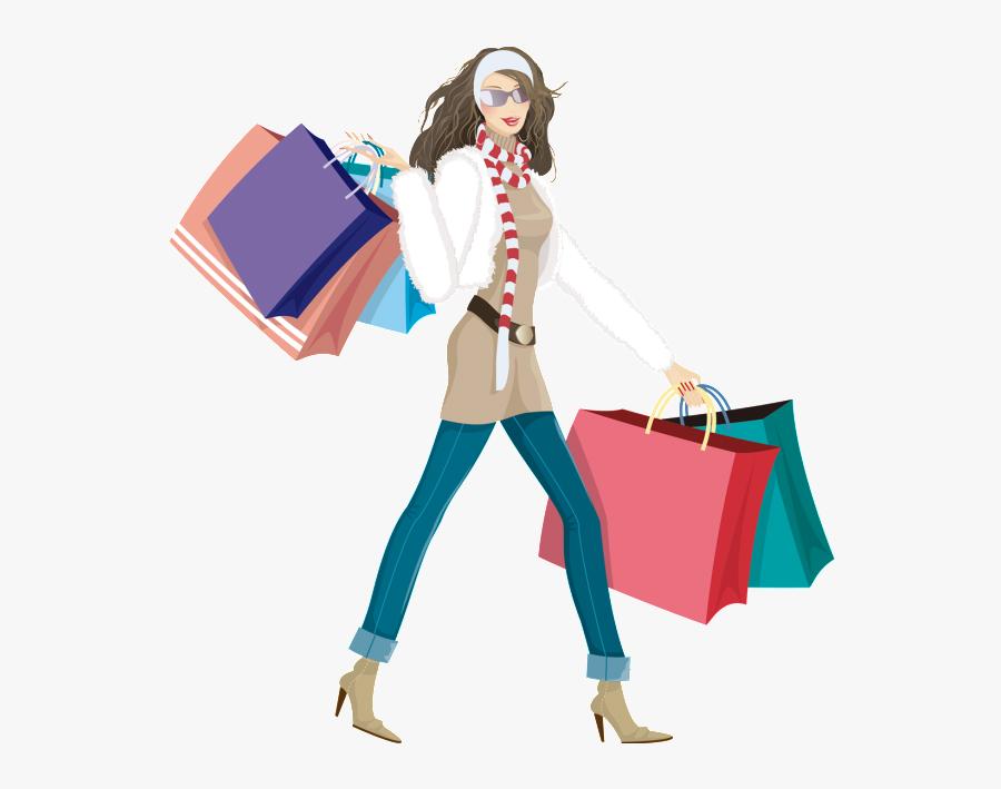Hand Drawn Cartoon Flat Fashion Shopping Girl Png - Fashion Cartoon Shopping Png, Transparent Clipart