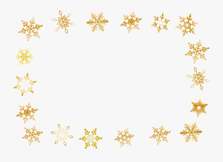 Winter Gold Snowflake Frame - Transparent Background Gold Falling Snowflake Clipart, Transparent Clipart