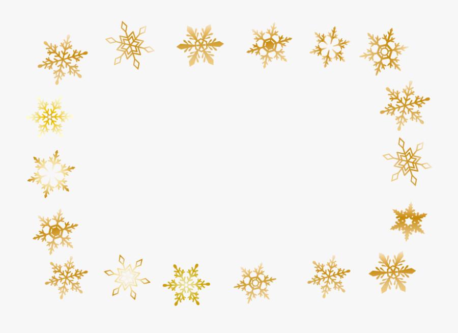 Winter Gold Snowflake Frame - Transparent Background Gold Falling Snowflake Clipart, Transparent Clipart