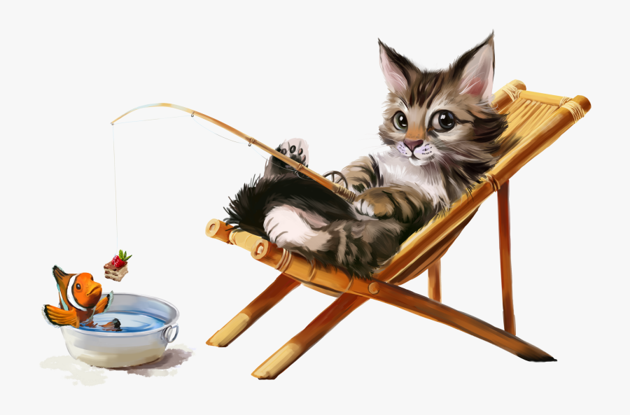 Cat In Lawn Chair, Transparent Clipart
