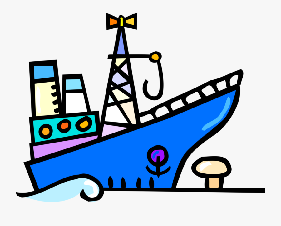 Vector Illustration Of Cargo Ship Or Freighter Ship, Transparent Clipart