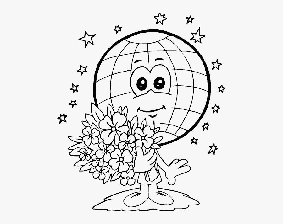Drawing Day Earth - Earth Day Coloring Pages, Transparent Clipart