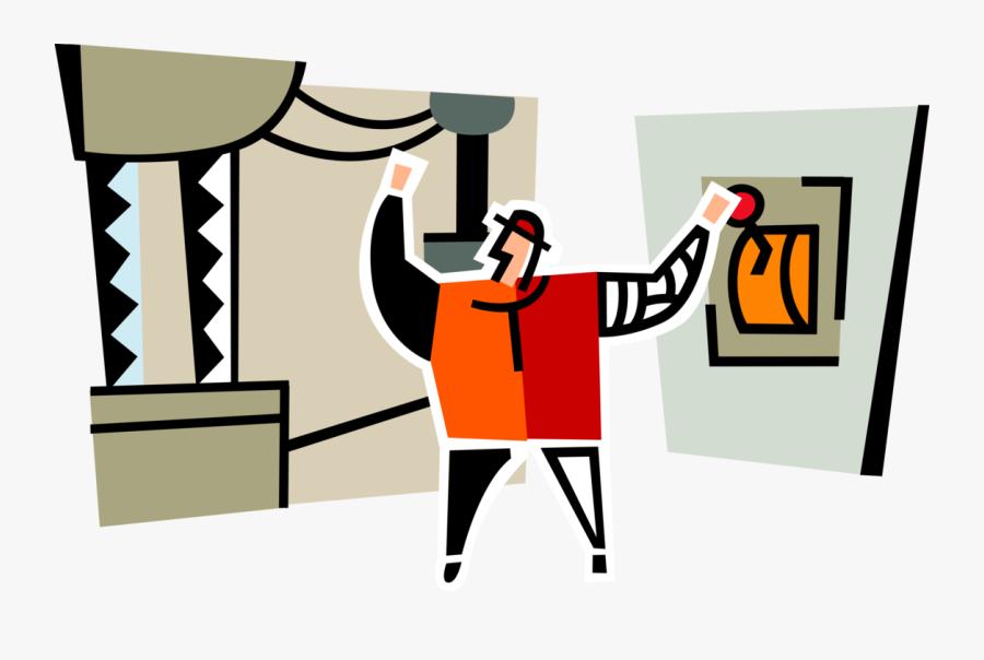 Vector Illustration Of Industrial Power Plant Worker - Illustration, Transparent Clipart
