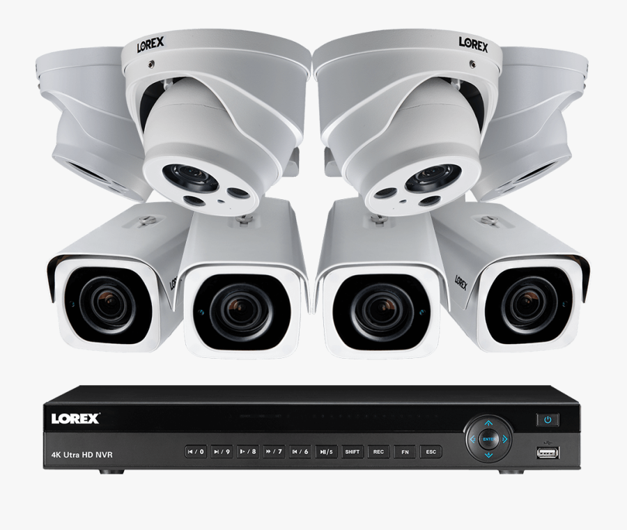 4k Ultra Hd Ip 16 Channel Nvr System, 4 Outdoor 4k - Lorex Security Camera System, Transparent Clipart