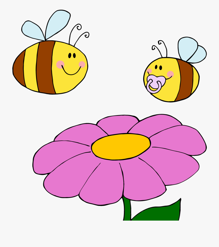 Time For Renewal And Rejuvenation Flowers Are Blooming, - Cartoon Bees, Transparent Clipart