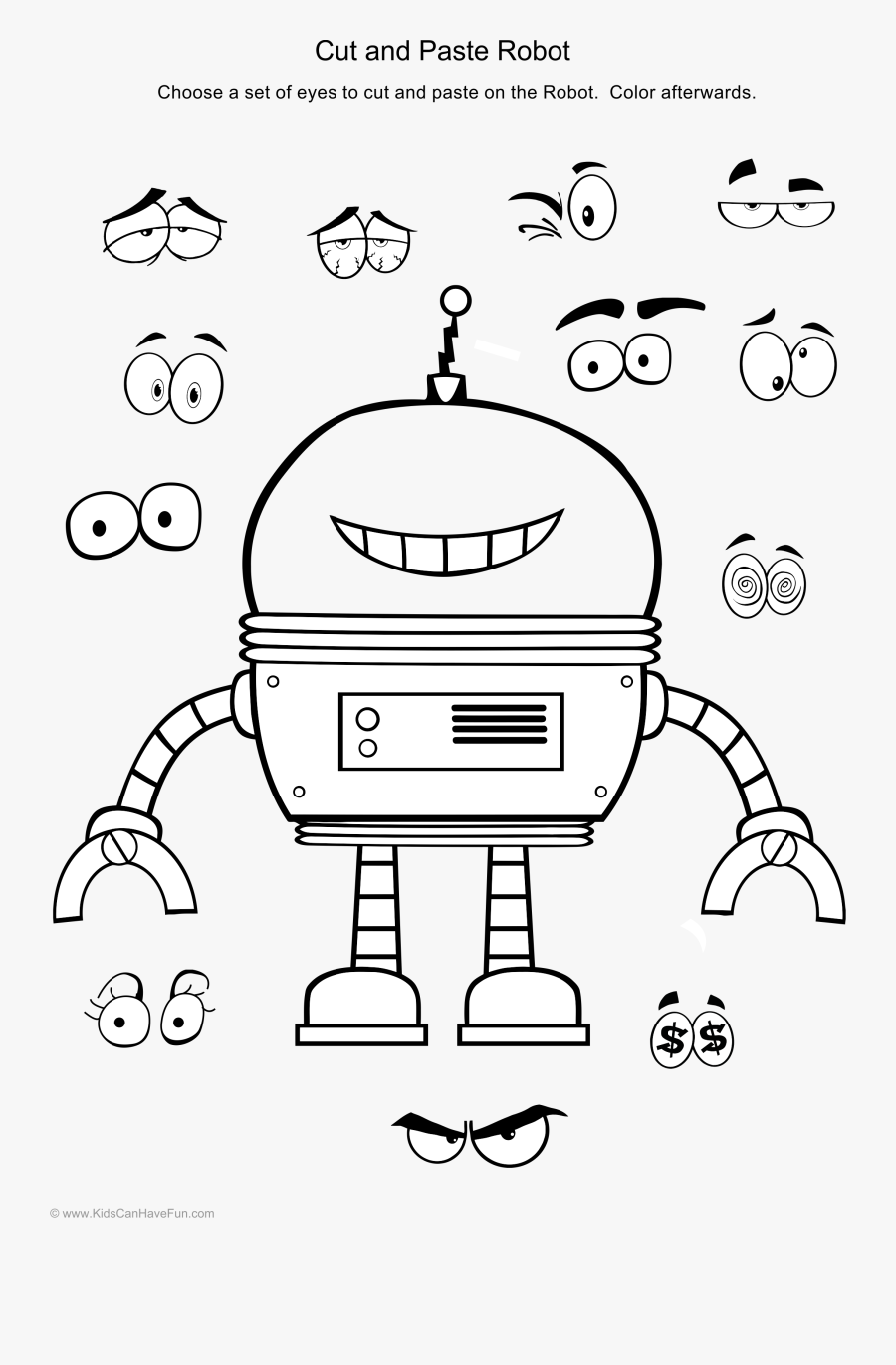 Crafts Clipart Cut And Paste - Pages Printable Robot Colouring, Transparent Clipart