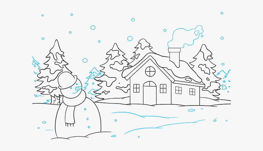 How To Draw Winter Scenery - Draw Winter, Transparent Clipart