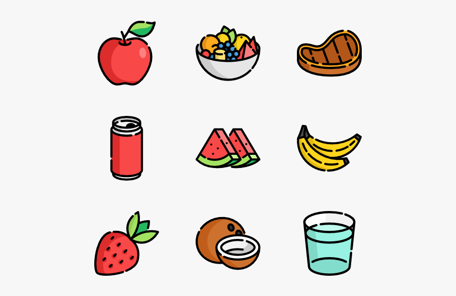 Summer Food & Drink - Food And Drinks Icons, Transparent Clipart