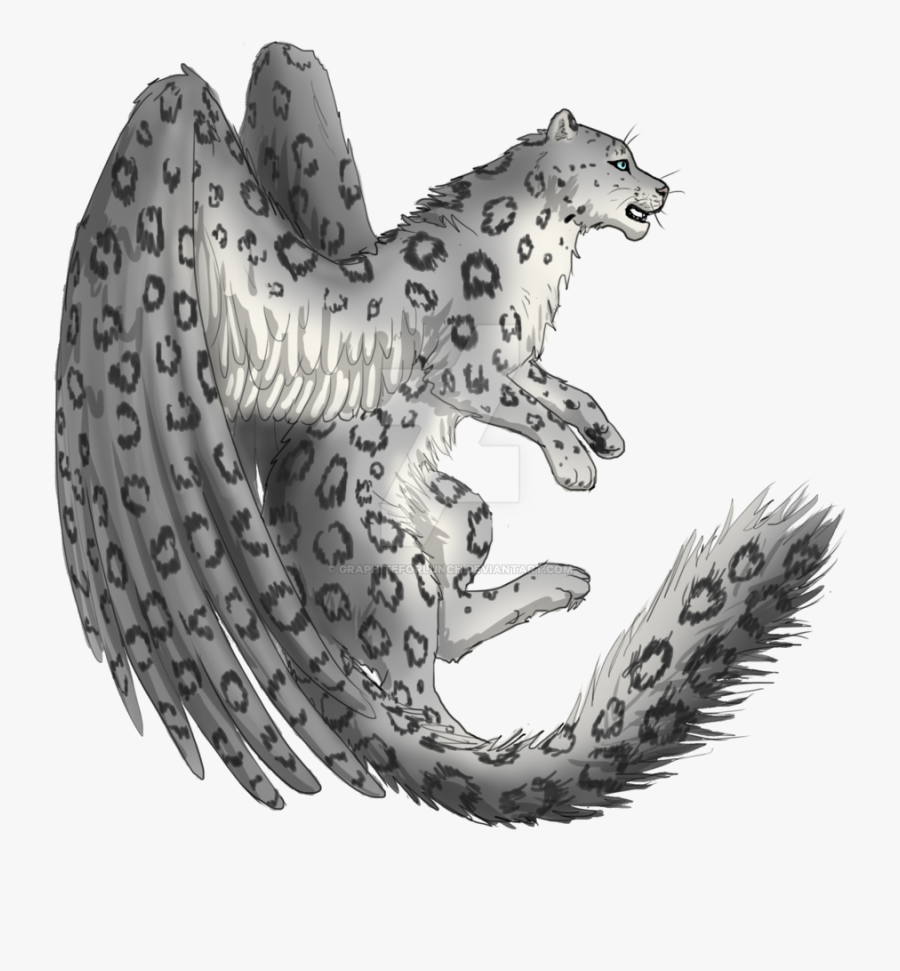 Snow Leopard With Wings, Transparent Clipart