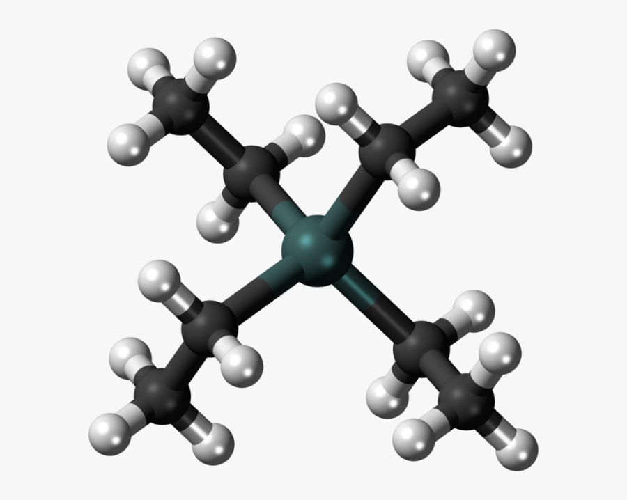 Ball And Stick Model Of The Tetraethyllead Molecule - Gasoline Molecule Ball And Stick Model, Transparent Clipart