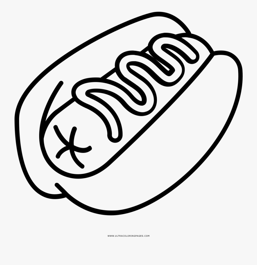 Hot Dog Coloring Page - Hotdog Drawing Png, Transparent Clipart