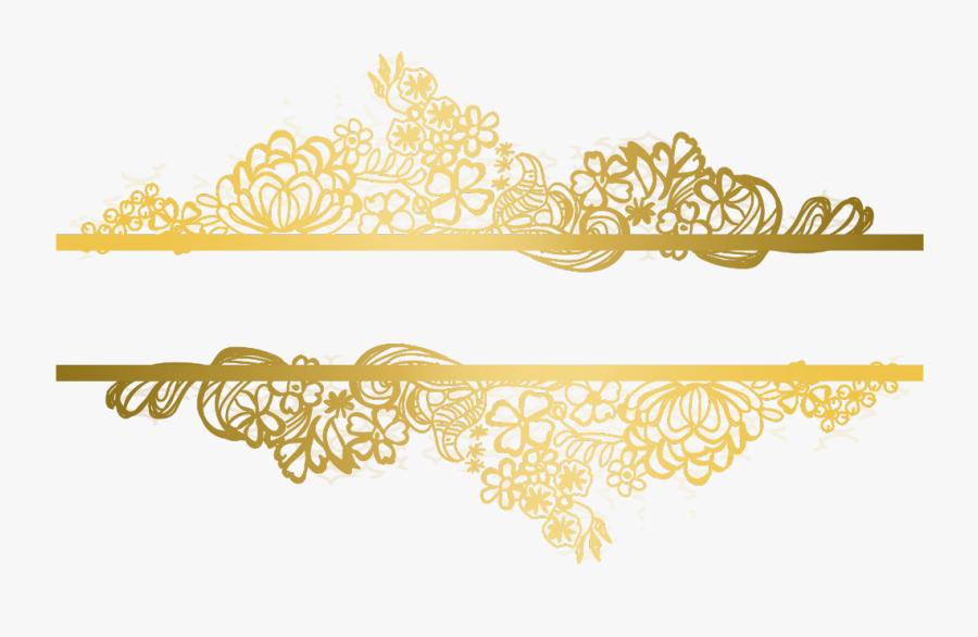 #gold #florals #flowers #swirls #divider #header #textline - Gold Lace Pattern Png, Transparent Clipart