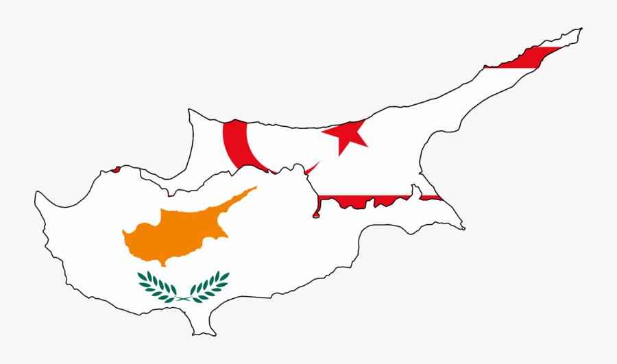 Flag Map Of Cyprus And Turkish Northern Cyprus - Northern Cyprus Flag Map, Transparent Clipart