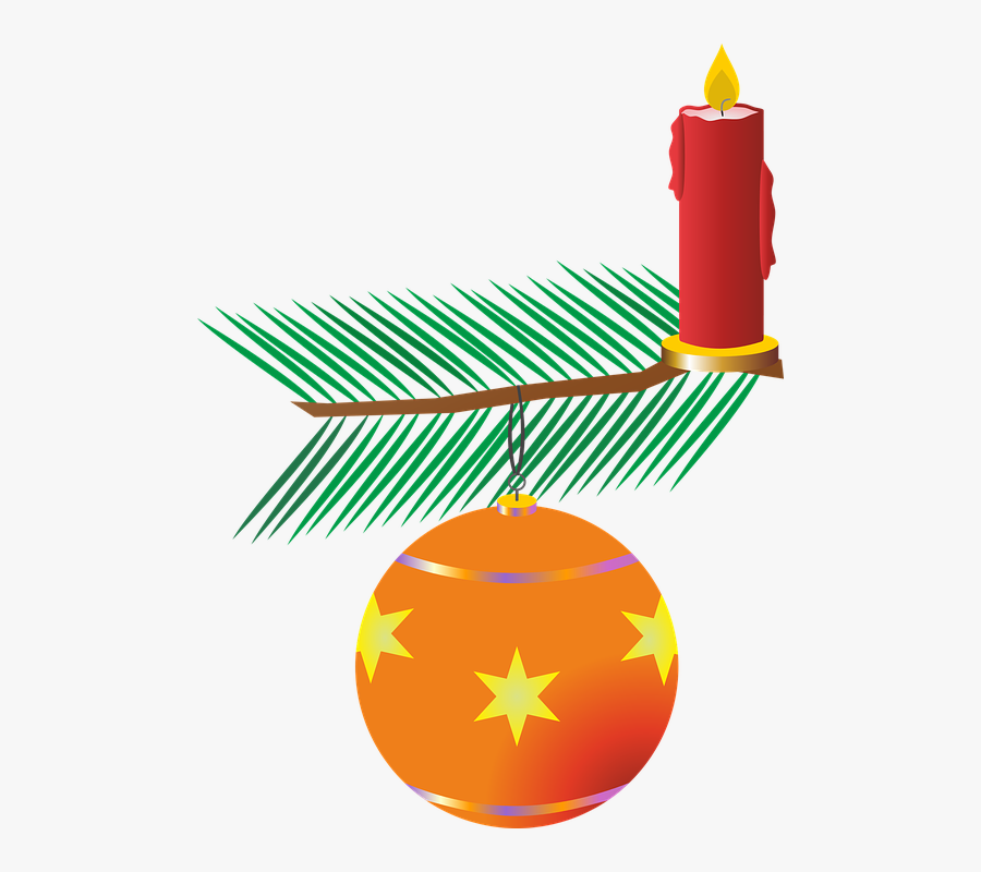 Candle, Flame, Candlelight, Mood, Advent, Christmas - Orange Christmas Bauble Clipart, Transparent Clipart