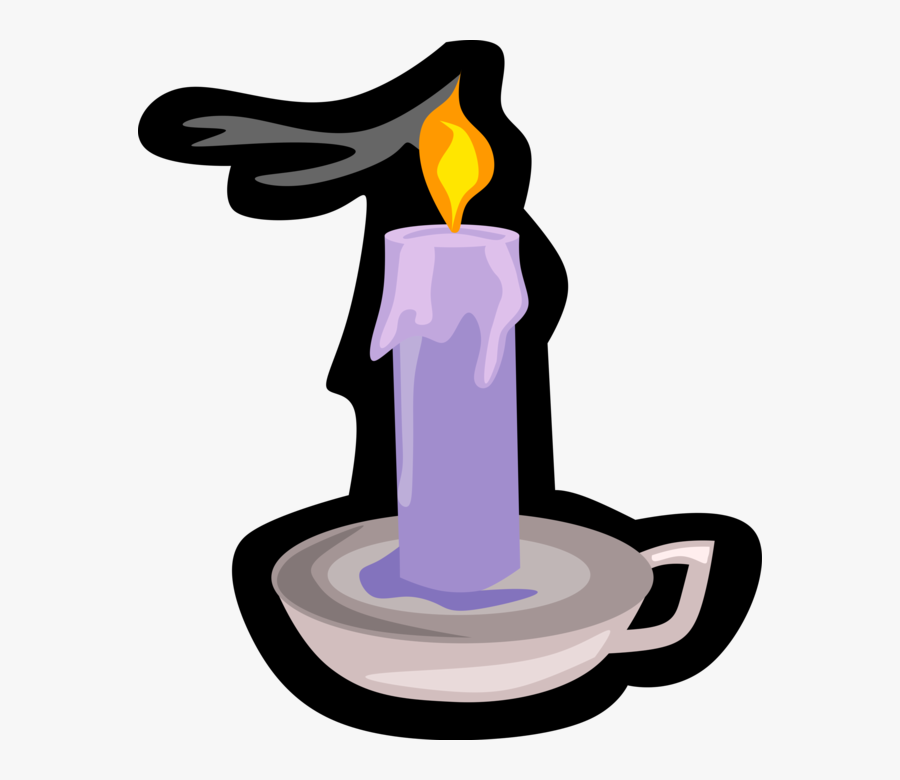 Vector Illustration Of Candle Ignitable Wick Embedded, Transparent Clipart