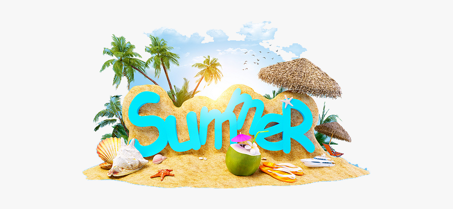 Summer Holiday Beach Vacation Two Free Frame Clipart - Summer Holiday Clip Art Png, Transparent Clipart