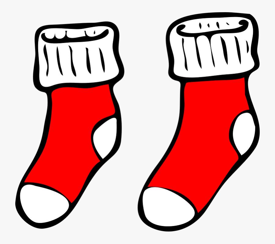 Socks Red Christmas - Socks Clip Art, Transparent Clipart