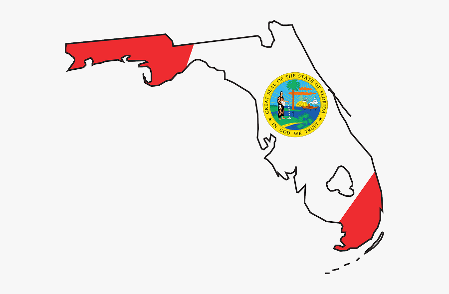Dark Blue Florida Clipart - Florida State Flag Map, Transparent Clipart