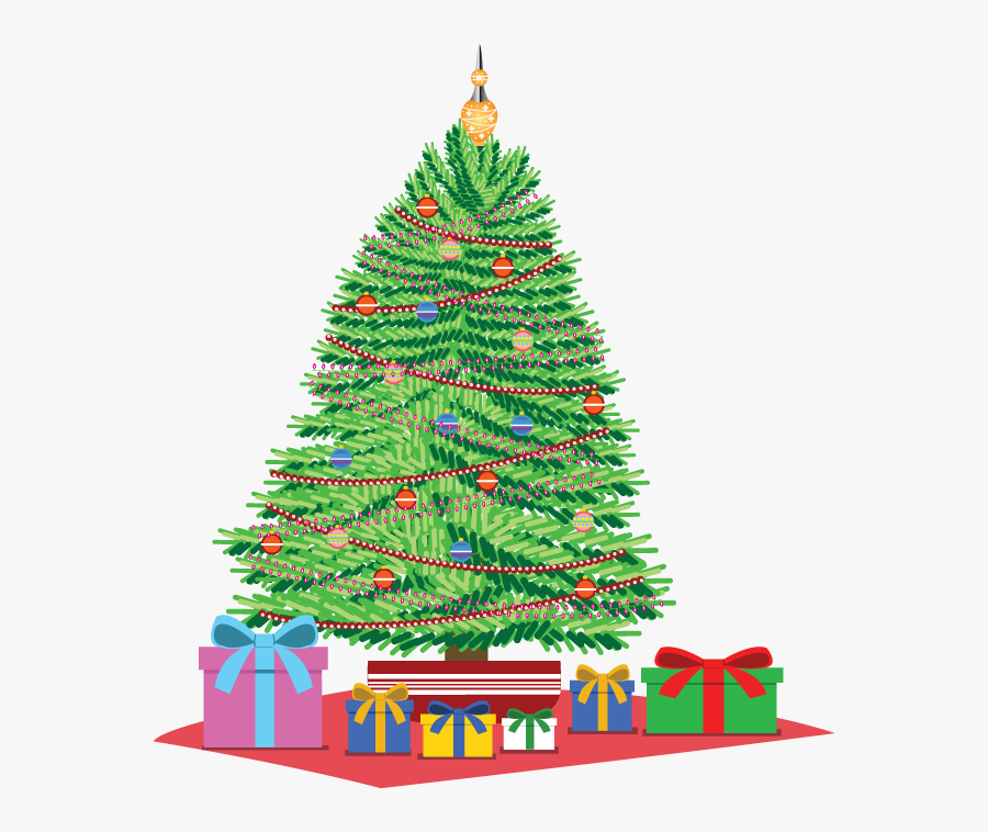 Christmas Tree With Presents Clip Art - Christmas Tree Drawing With Gifts, Transparent Clipart