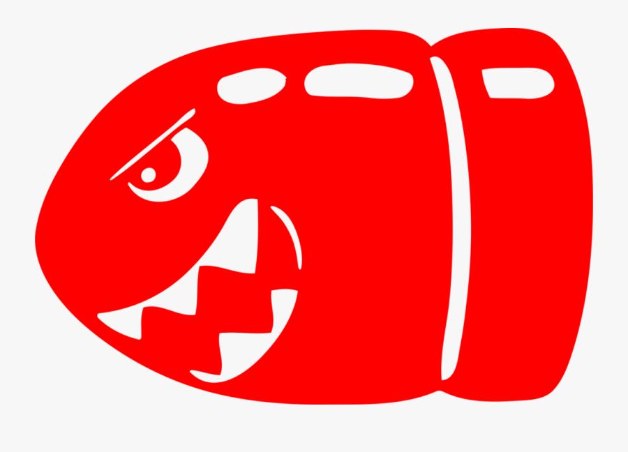 Mario Clipart Silver Bullet - Red Bullet Bill, Transparent Clipart