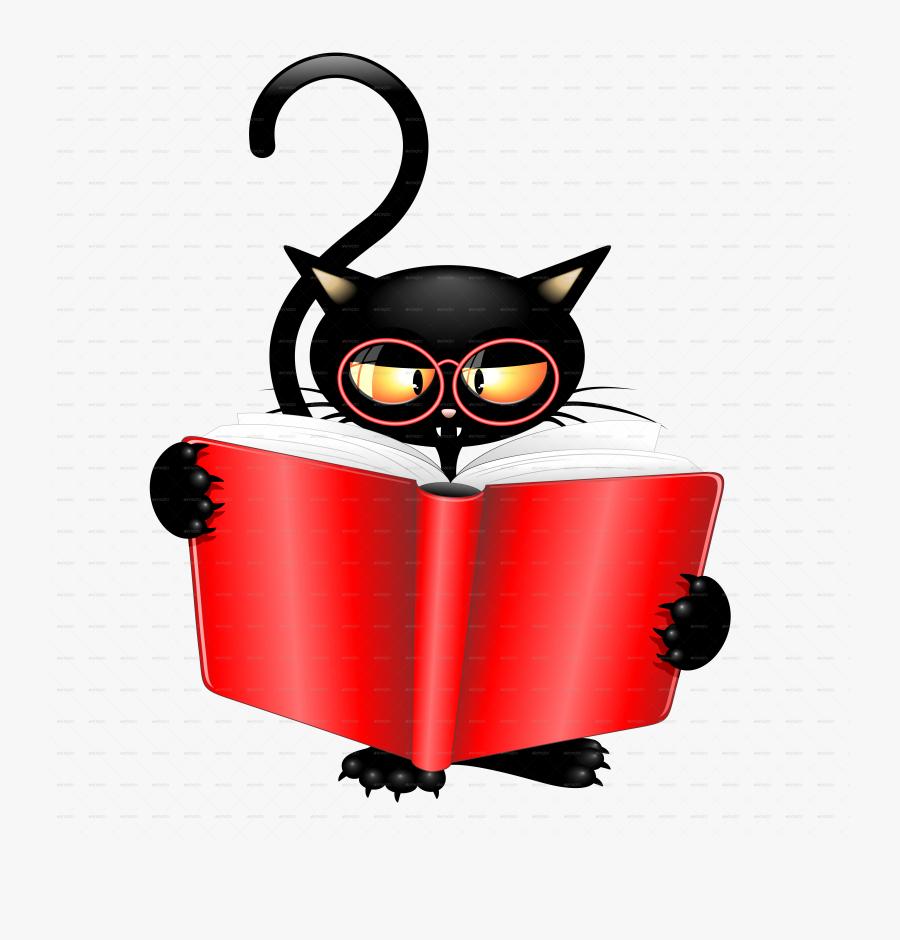 Cattish Angry Black Cat Cartoon - Cartoon Cats Reading A Book, Transparent Clipart