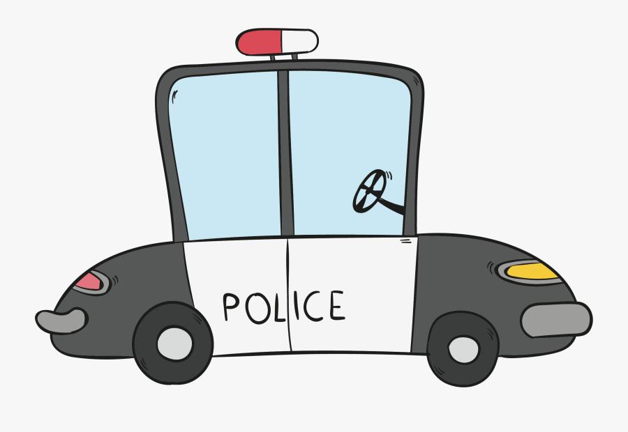Transparent Police Car Clipart - Cop Car Cartoon Drawing, Transparent Clipart