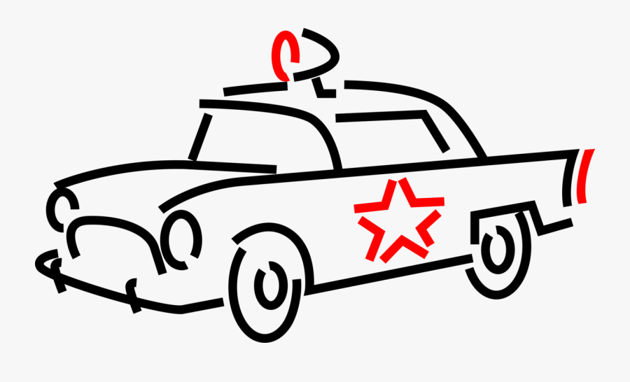 Vector Illustration Of Law Enforcement Police Car Cruiser, Transparent Clipart