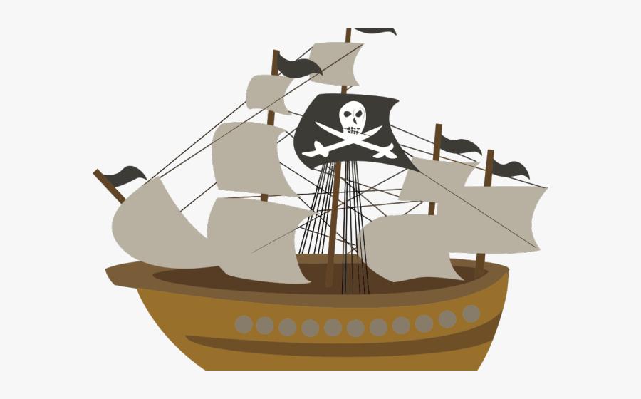 Three Sail Pirate Ship, Transparent Clipart
