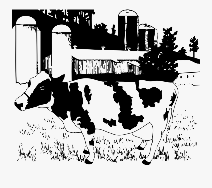 Transparent Farmers Clipart Black And White - Dairy Farm Black And White, Transparent Clipart
