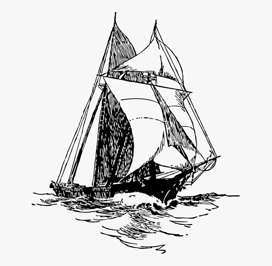 Free Vector Sailing Ship Clip Art - Ship Sails Black And White, Transparent Clipart
