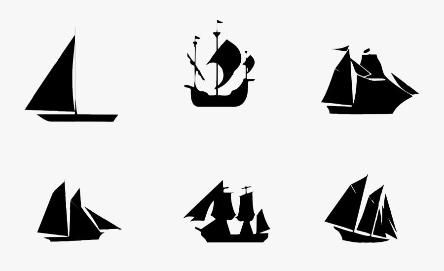 Sailing Ship Sailboat Silhouette - Ship Silhouette, Transparent Clipart