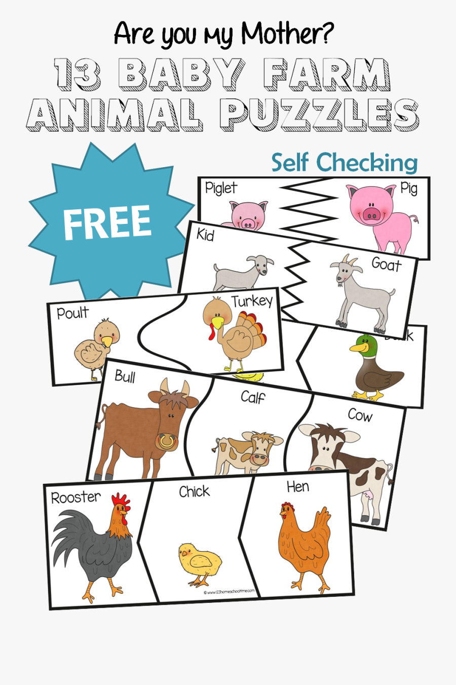 Are You My Mother 13 Baby Farm Animal Puzzles - Baby Farm Animals Puzzle, Transparent Clipart