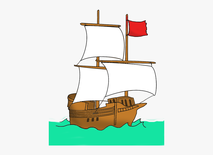 Pirate Ship With Red Flag - Pirate Ship Red Flag, Transparent Clipart