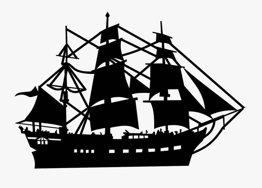 Transparent Pirate Ship Clipart - Sail Ship Vector Png, Transparent Clipart