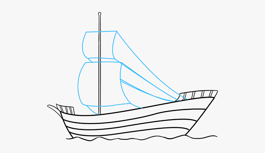 How To Draw A Pirate Ship, Step By Step, Boats, Transportation - Ship Drawing, Transparent Clipart
