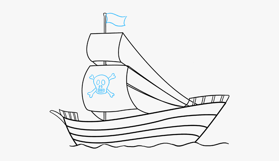 How To Draw Pirate Ship - Pirate Ship Simple, Transparent Clipart